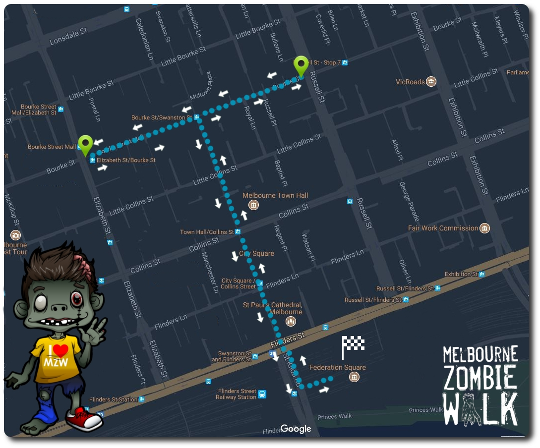 Melbourne Zombie Walk 2017 Route
